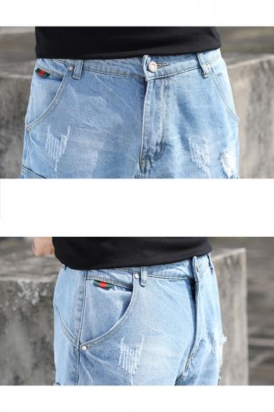 Men's Summer Trendy Flap Pocket Side Light Blue Ripped Cargo Denim Shorts