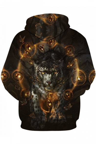 New Trendy Cool 3D Wolf Head Print Long Sleeve Relaxed Fit Pullover Hoodie