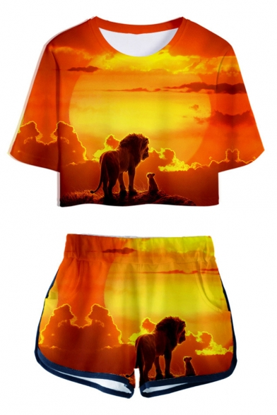 Popular The Lion King 3D Print Crop Tee with Dolphin Shorts Two-Piece Set, LM549358