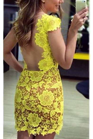 Sexy Hot Fashion Yellow Sheer Mesh Patched Skinny Fitted Mini Lace Dress for Nightclub