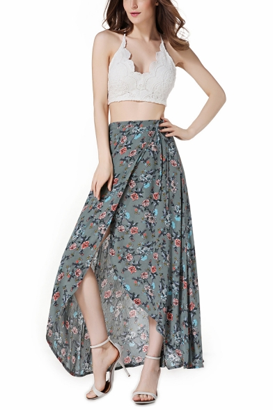 Summer Chic Floral Printed High Rise Maxi Cotton Asymmetrical Wrap Skirt LM542572 фото