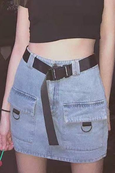 Summer Cool Girls Buckled Belted Waist Flap POcket Front Blue Mini Bodycon Denim Skirt