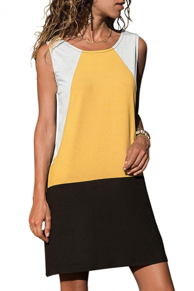 Summer Cool Unique Color Block Round Neck Sleeveless Casual Loose Mini Tank Dress