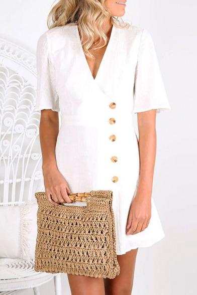 Summer Fashion Plain Surplice V-Neck Button Down Short Sleeve Mini A-Line Dress