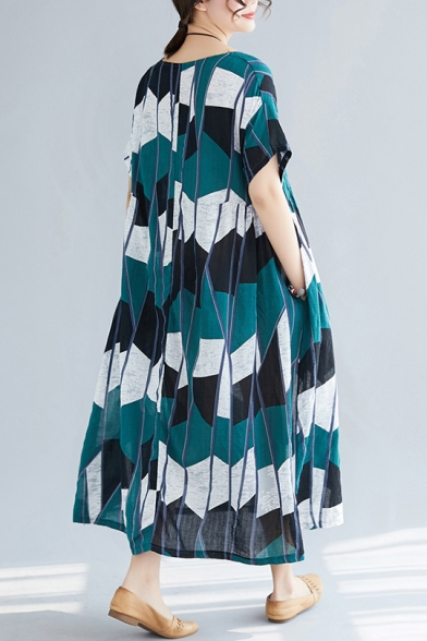 Summer Fashion Tribal Geometric Printed Round Neck Short Sleeve Plus Size Maxi Oversized Dress