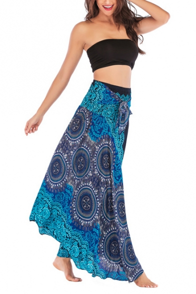 Summer Holiday Ethnic Style Tribal Printed Tied Waist Maxi Beach Flared Skirt