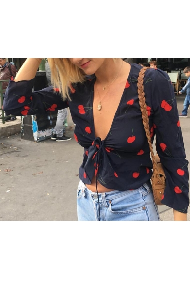 Summer Hot Fashion Plunge V Neck Cherry Print Knotted Front Long Sleeve Sexy Fitted Crop Blouse