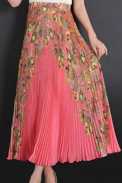 Summer Hot Popular Chiffon Floral Print Boho Elastic High Waist Pleated Maxi Skirt