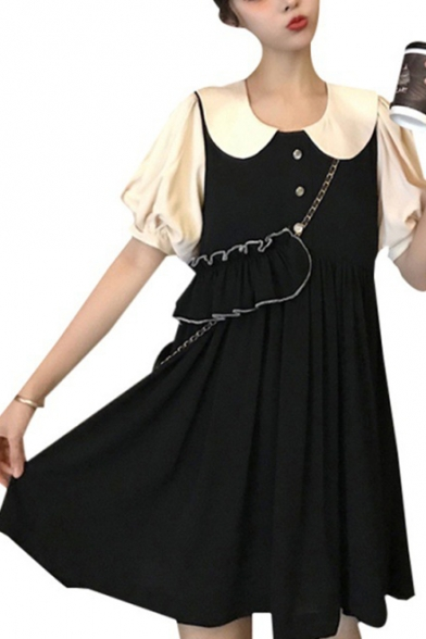 Summer Hot Trendy Chic Black Puff Sleeve Petal Collar Button Embellished Mini Babydoll Dress