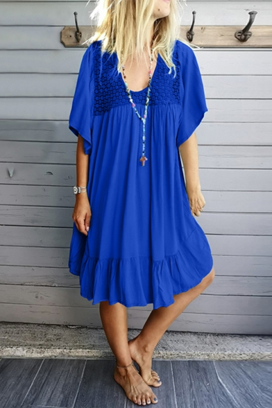 Summer New Stylish Hollow Lace Patched V-Neck Simple Solid Color Casual Midi Ruffled Beach Dress