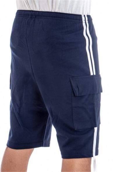 Summer Stylish Striped Side Ribbon Embellishment Flap Pocket Drawstring Waist Men's Casual Sports Sweat Shorts