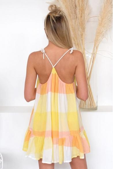 Summer Stylish Yellow Color Block V-Neck Mini Ruffled Slip Dress