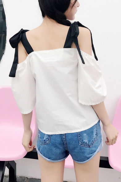 Sweet Girls Bow-Tied Straps Cold Shoulder Plain White Chiffon Top