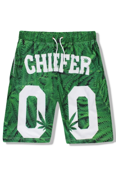 Trendy Letter CHIEFER Leaves Printed Mesh Quick-drying Men's Loose Relaxed Shorts