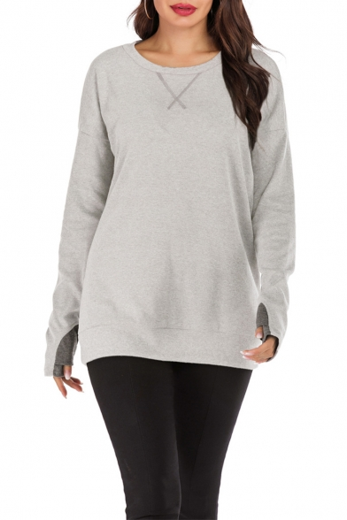 Unique Basic Plain Round Neck Long Glove Sleeve Sport Loose Casual Sweatshirt
