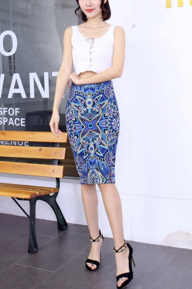 Womens Fancy Ethnic Style Geometric Print Split Back Midi Blue Pencil Skirt