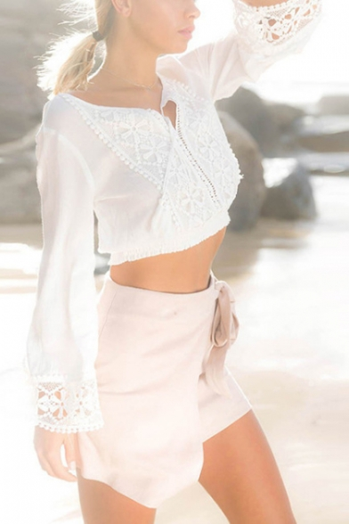 Womens Fashion Holiday White Lace Panel Tied V-Neck Casual Blouse Top