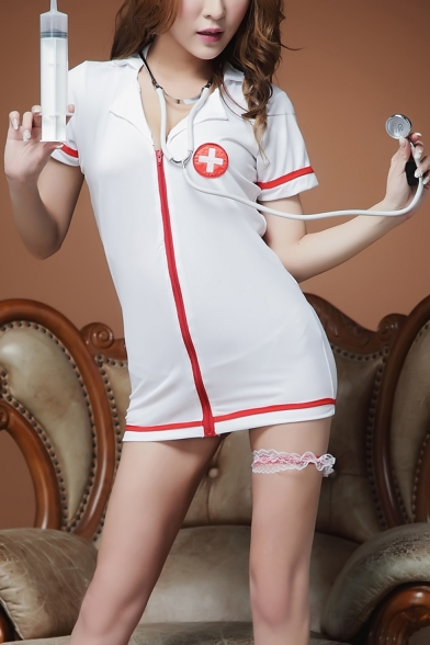 Womens Fashion White Hospital Logo Print Short Sleeve Contrast Trim Zip-Front Lapel Collar Mini Dress for Cosplay