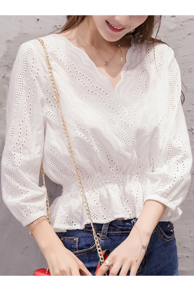 Womens Fashion White V-Neck Long Sleeve Hollow Out Blouse Top