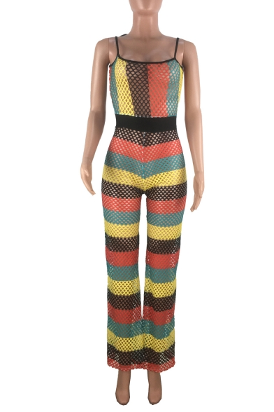 Womens Hot Popular Straps Sleeveless High Waist Multicolor Striped Cutout Tie Shoulder Holiday Jumpsuits
