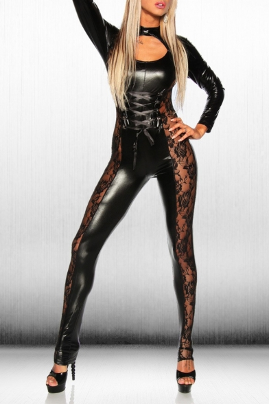 Womens Hot Sexy Black Long Sleeve Cutout Sheer Lace Patch Lace Up Front Patent Jumpsuits
