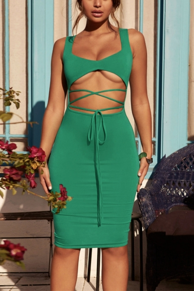 Womens Hot Trendy Sexy Tied Hollow Out Front Sleeveless Midi Plain Bodycon Dress
