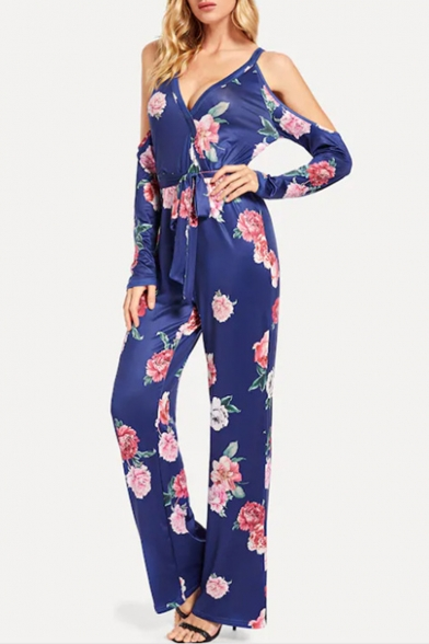 Womens New Trendy Floral Printed Cold Shoulder Long Sleeve Plunge V Neck Tie Waist Loose Jumpsuits