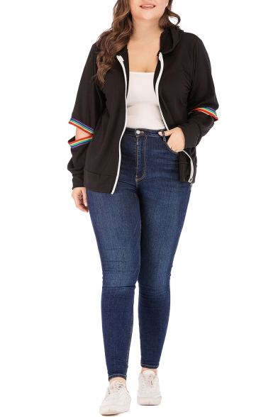 Womens Plus Size Fashion Hollow Out Striped Long Sleeve Zip Up Sport Loose Black Hoodie