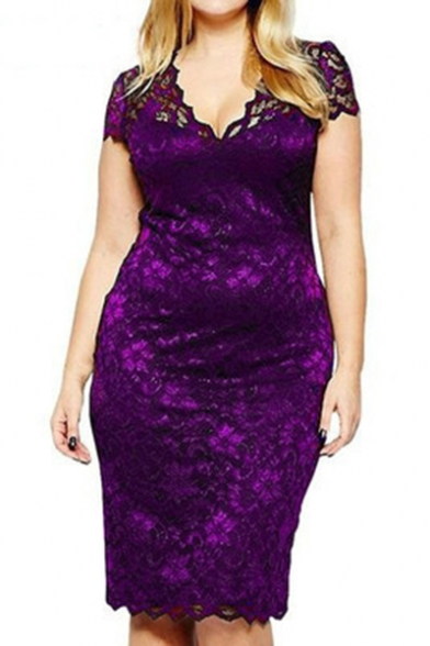 Womens Plus Size Fashion V-Neck Short Sleeve Midi Fitted Lace Pencil Dress
