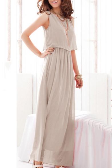 Womens Simple Plain Basic Round Neck Sleeveless Holiday Maxi Chiffon Flowy Beach Dress