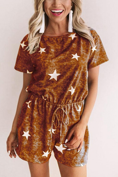 Womens Stylish Hot Sale Simple Star Print Drawstring Waist Short Sleeve Casual Romper