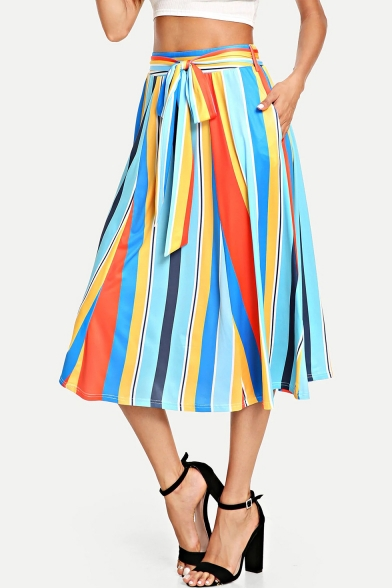 Womens Summer Fancy Colorful Vertical Striped Printed Tied Waist Midi Chiffon A-Line Skirt
