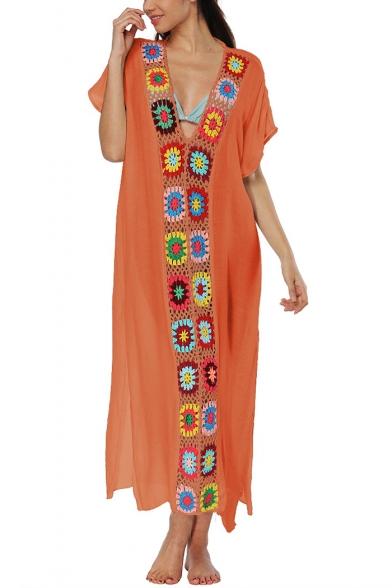 Womens Summer Holiday Ethnic Style Crochet Patched V-Neck Short Sleeve Maxi Beach Kaftan Dress