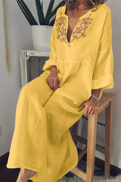 Womens Summer Hot Popular Chic Floral Embroidery V-Neck Long Sleeve Maxi Bohemian Dress