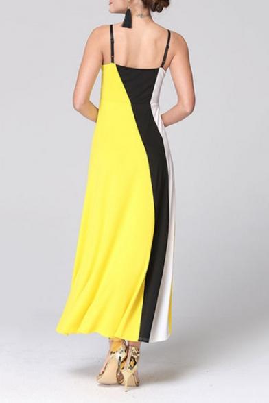 Womens Summer Hot Popular Colorblock Sleeveless Maxi Slip Dress
