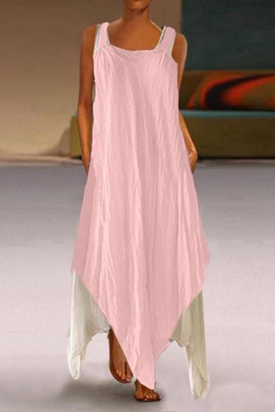 Womens Summer Trendy Boutique Fake Two-Piece Cotton Maxi Asymmetrical Strap Dress