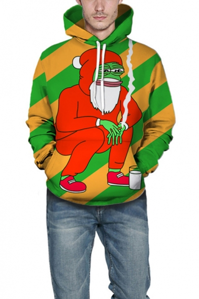Christmas Funny Smoking Santa Claus Frog Stylish Long Sleeve Drawstring Hoodie