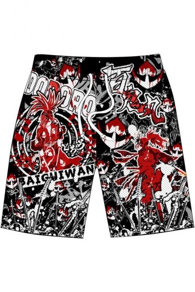 Comic Character 3D Printed Mens Drawstring Waist Casual Loose Sport Shorts