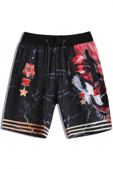 Cool Fashion Stripes Wolf Printed Drawstring Waist Black Cotton Casual Shorts for Men