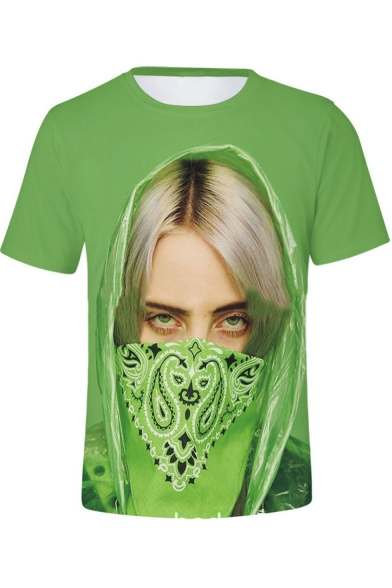 Cool Funny 3D Green Mask Figure Printed Round Neck Short Sleeve Regular Fit T-Shirt