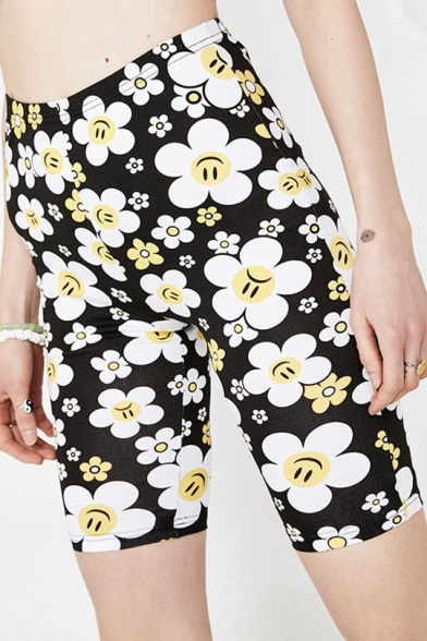 Cute Cartoon Smile Face Floral Printed Stretch Fit Half Legging Shorts Biker Shorts
