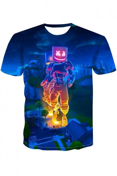 Cool 3D Figure Print Blue Short Sleeve T-Shirt