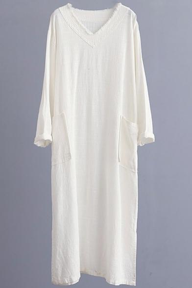 Vintage Solid Color V Neck Long Sleeve Pocket Front Split Side Casual Loose Maxi Cotton Linen Dress