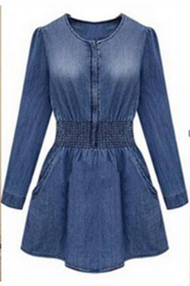 Fashion Round Neck Long Sleeve Pocket-Front Elastic Waist Slim Leisure Mini Denim A-Line Dress