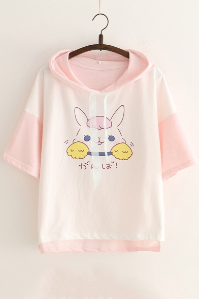 Girls Cute Cartoon Rabbit Printed Color Block Short Sleeve Hooded T-Shirt LC541216 фото