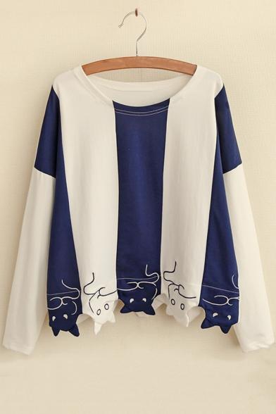 Girls Cute Funny Cartoon Cat Hem Colorblocked Blue and White Long Sleeve T-Shirt