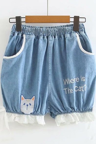 Girls Summer Cute Cartoon Letter WHERE IS THE CAT Elastic Waist Patched Hem Loose Light Blue Denim Shorts