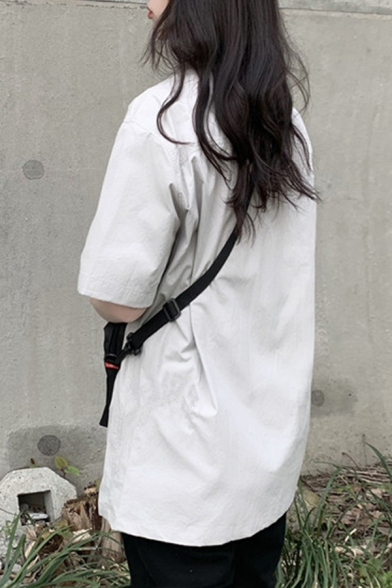 Girls Summer Vintage Plain Short Sleeve Flap Pocket Front Button Down Work Over Shirt