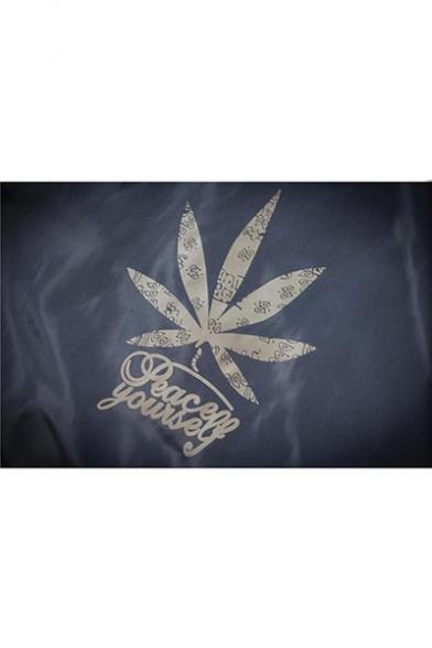 Guys New Trendy Letter Leaf Logo Print Back Long Sleeve Hooded Zip Up Track Jacket Coat