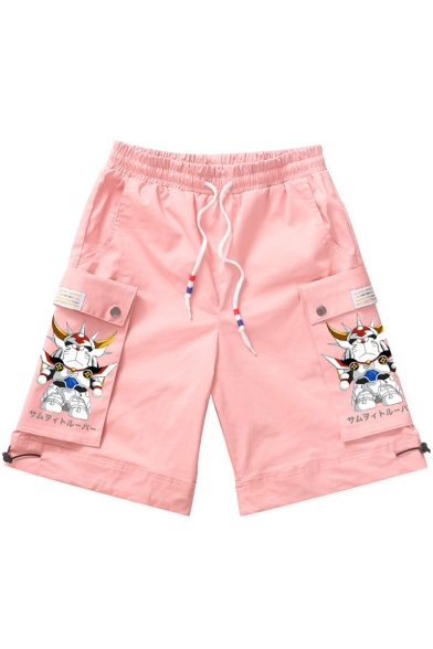 Guys Summer New Trendy Cartoon Printed Drawstring Waist Casual Loose Cargo Shorts with Side Pockets